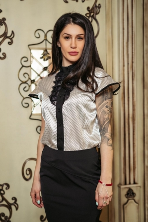 Women suit with lace shirt and black skirt Avangard