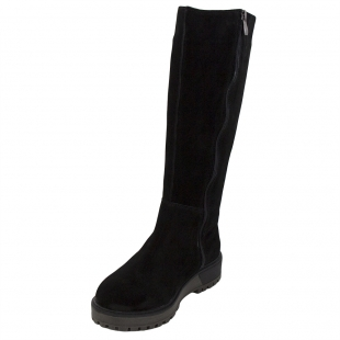 Women's black suede leather boots 32809