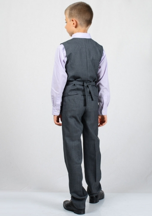 Set dark gray vest with belt and trousers slim fit for boy RUMENA