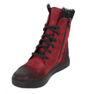 Women's red suede leather boots with lace 20592