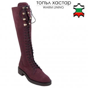 Women leather boots nubuck color burgundy 32810