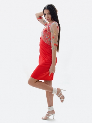 Ladies red dress with floral lace 71916