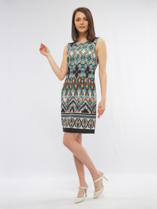 Women's dress in turquoise color with motifs 8177