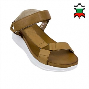 Women's sandals in tobacco brown color with side strap 21338
