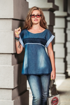 Ladies denim tunic shirt decorated with lace Avangard