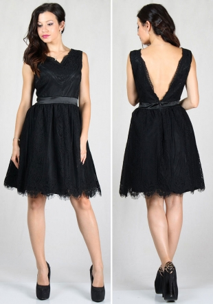 Women's evening nude dress made of attractive black lace   RUMENA