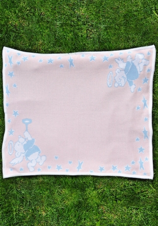 Wooven blanket with angel bears