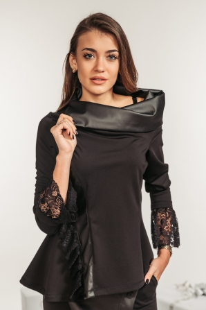 Ladies black shirt with leather and lace Avangard