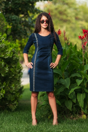 Blue denim dress with decoration Avangard