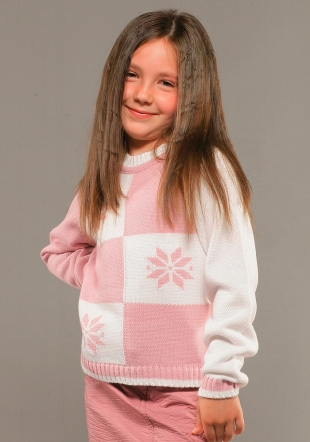 Snowflake patern pink and white kids sweater Z-06/07