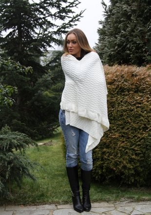 Ladies large white or black knitted scarf Zfashion