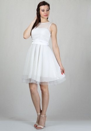 Evening white dress with figure elements tulle with white satin belt RUMENA