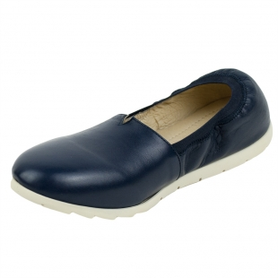 Women's blue leather mocassins with elastic