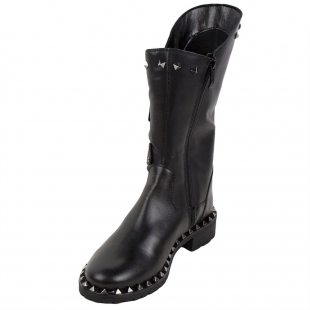 Ladies black high back boots embelished with studs 32822