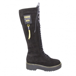Women's black nubuck leather boots with yellow stitching 20490