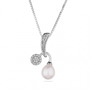 Silver necklace with natural white pearl and zirons CAA083NW Swan