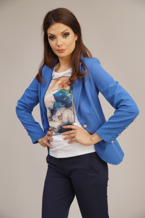 Women's fitted jacket in blue color 42103-400