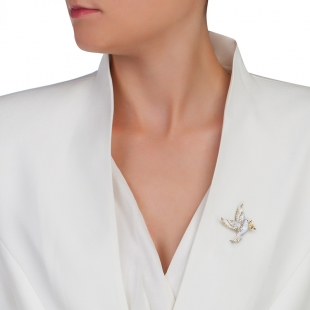 Silver and gold dove brooch with zicons Swan