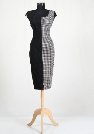 Two-tone dress in black and pipit RUMENA