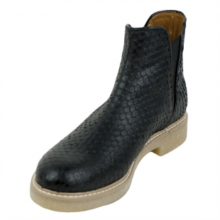 Women's black leather boots with croco print 20492