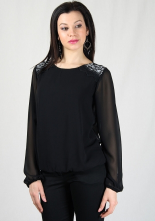Black chiffon top with lace and printed inserts on shoulders RUMENA