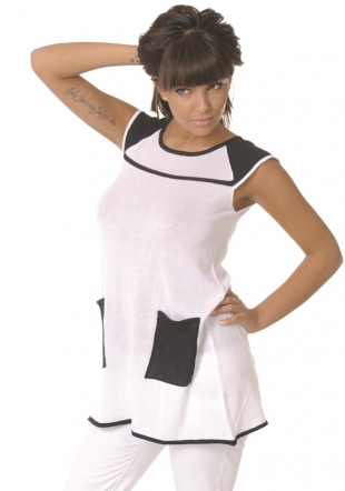 White tunic with black pockets Z-09