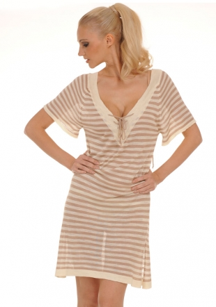 Striped Wooven Tunic-ress with Ties Z-11