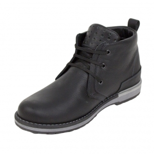 Men's black leather boots with warm lining 34170
