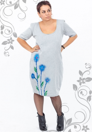 Maxi dresses in gray color denim decorated with flowers Ilina