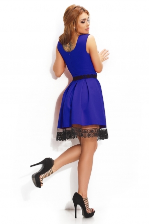 Lady's dress in royal blue with lace border