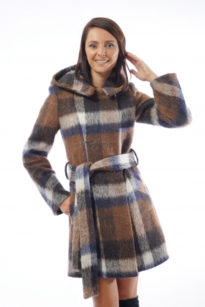 Sporty and elegant coat with hood and belt 12011-T29