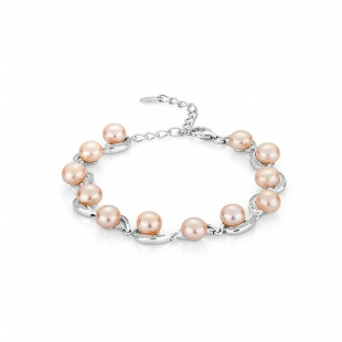 Silver bracelate with pink pearls and zircons FN662BP Swan
