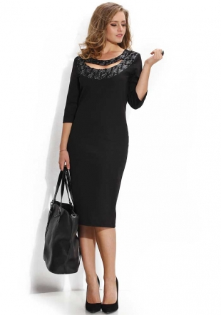 Black dress with leather decoration Avangard