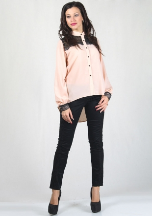 Peach colour shiirt with black lace and trousers with lace RUMENA