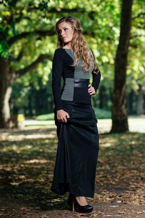 Black long dress with leather and white and black elements Avangard