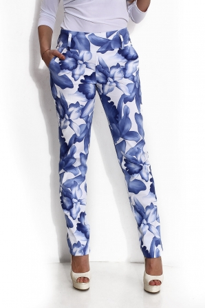 Women trousers with blue flowers Avangard