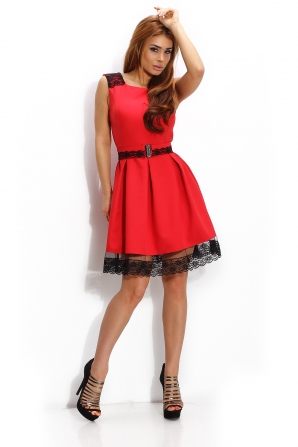 Official dress in coral color with lace