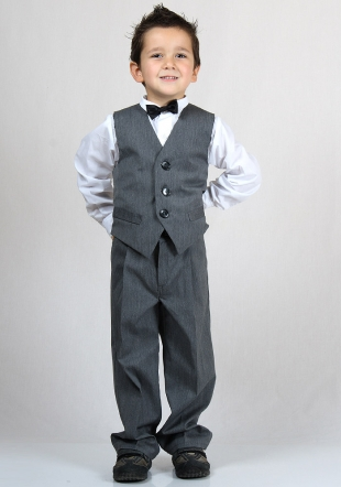 Boys' dark grey suit of vest, trousera and blazer and shirt RUMENA