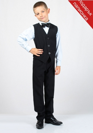Set black vest with belt and trousers slim fit for boy RUMENA