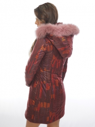 Sports elegant fur coat with a hood 11912-P7