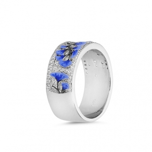 Silver ring with hand drawn blue flowers and zircons PJ547RSwan