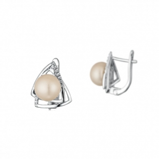 Silver Earrings with natural white pearls CAA012 Swan