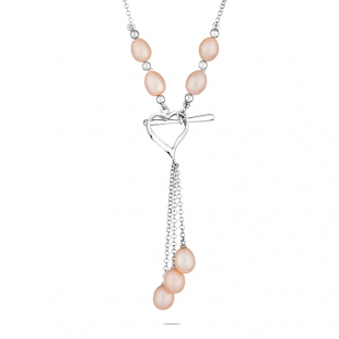 Silver heart pendant necklace with pink freshwater pearls D006NP Swan