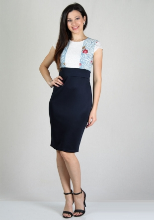 Dress with blue skirt and lace and printed jersey top RUMENA