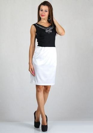 Women's dress in black and white with sparkling collar RUMENA