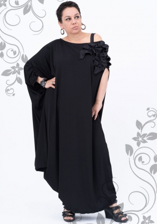 Black maxi dress with handmade decorations and dialed sleeve Ilina