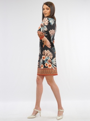 Women's floral dress in black color 8169