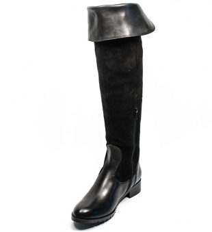 Women's black leather high boots 32472