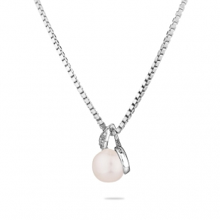 Silver necklace with natural white pearl and zicons IEP0106W Swan