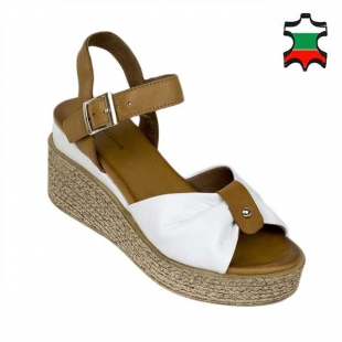 Ladies leather sandals in light brown and white colors 21342